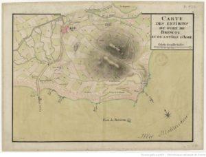 Carte des environs du fort de Brescou et de la ville d'Agde, 17.., Domaine public. Source : Gallica / BnF