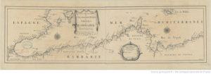 Les Costes des royaumes de Fez, Alger, Tunis et Tripoli en Barbarie suivant les routiers et les portolans de divers pilotes / par P. du val ; F. Lapointe fecit, 1677. Domaine public. Source : Gallica / BnF